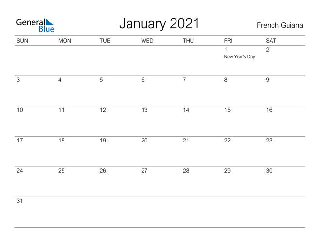 January 2021 A Streamlined Design, The Perfect Printable Calendar. Calendar