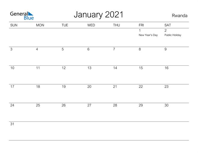 Printable January 2021 Calendar for Rwanda