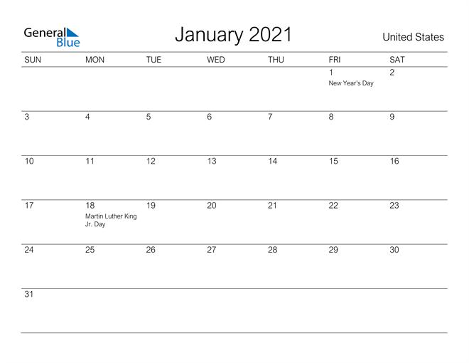 Printable January 2021 Calendar for United States