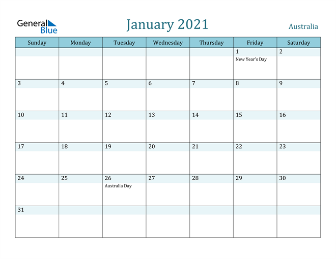 January 2021 Calendar with Holidays in PDF, Word, and Excel