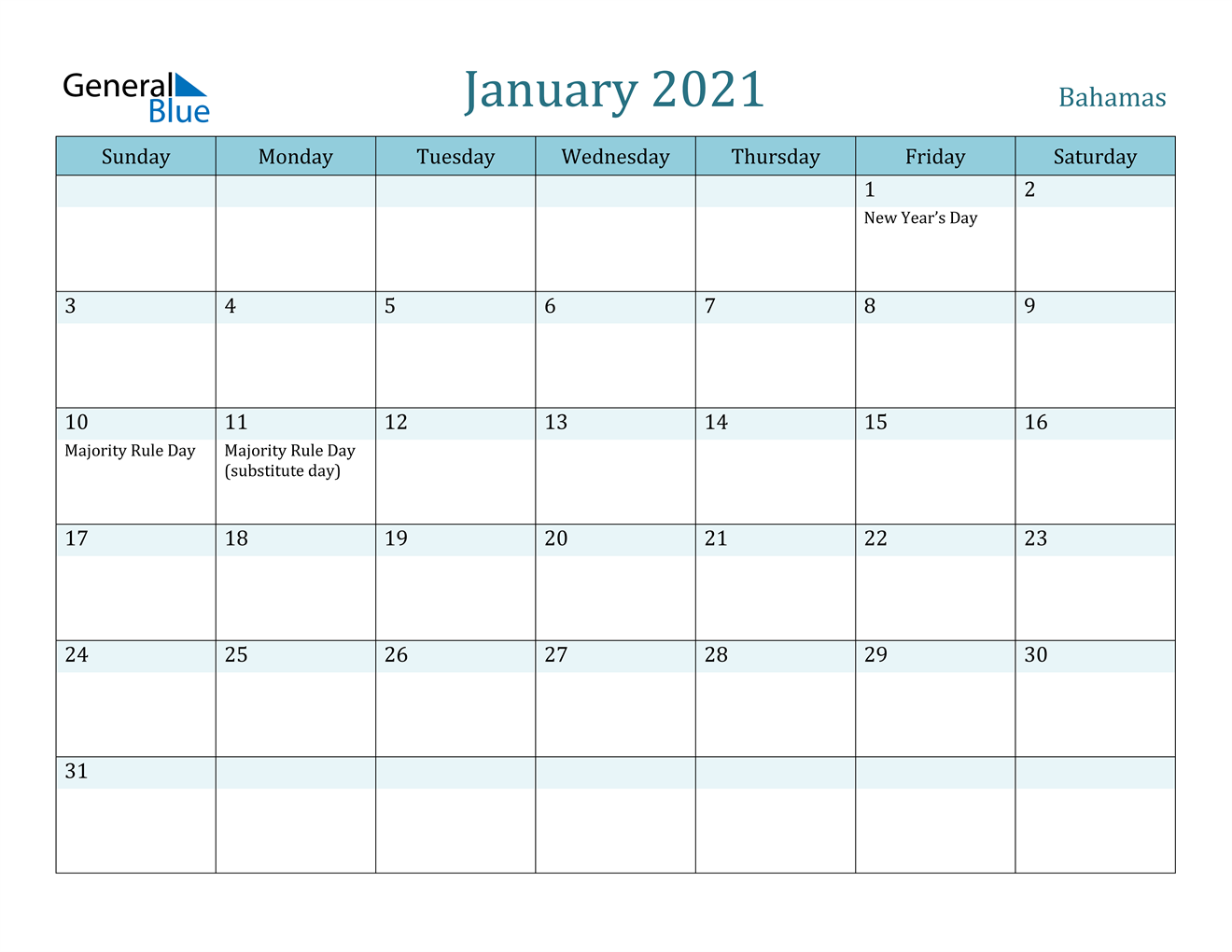 January 2021 Calendar - Bahamas