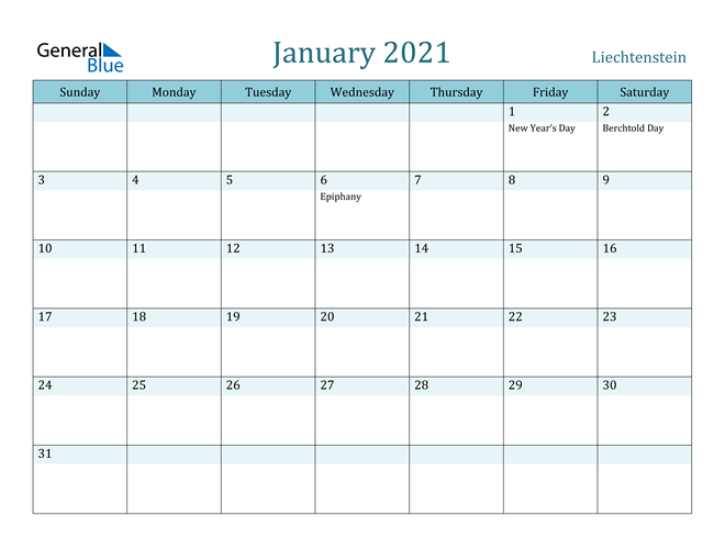 Image of January 2021 Colorful Turquoise Calendar in PDF, Word and Excel Calendar