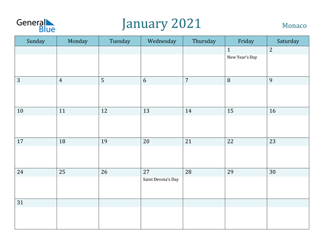 January 2021 Colorful Turquoise Calendar in PDF, Word and Excel Calendar