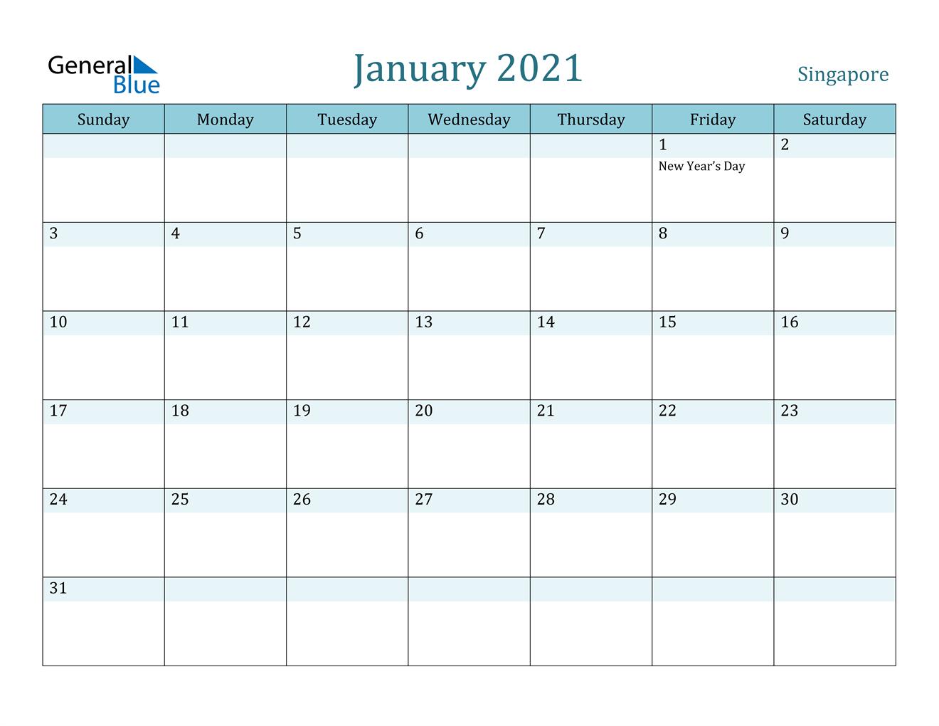 January 2021 Calendar - Singapore