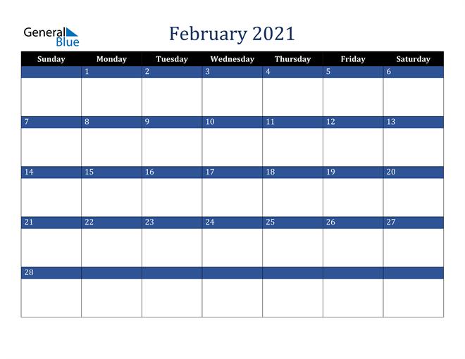 February 2021 Stylish Dark Blue Calendar in PDF, Word and Excel