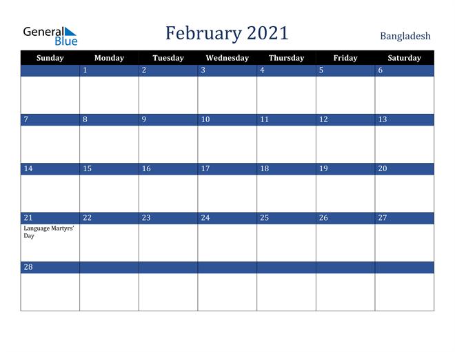 February 2021 Bangladesh Calendar