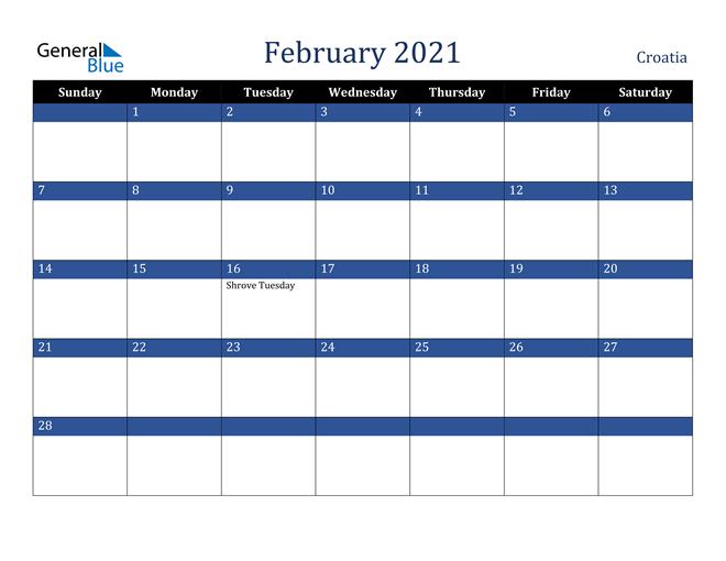 Image of February 2021 Stylish Dark Blue Calendar in PDF, Word and Excel Calendar