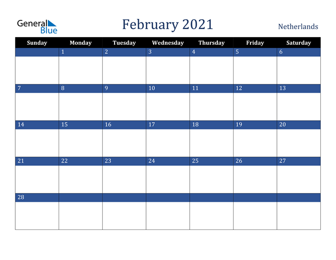 Image of February 2021 Stylish Dark Blue Calendar in PDF, Word and Excel Calendar