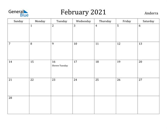 Image of February 2021 Andorra Calendar with Holidays Calendar