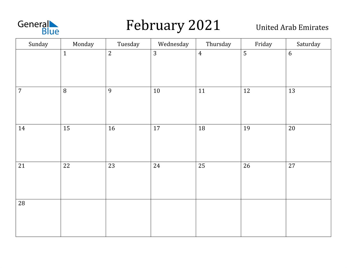 February 2021 Calendar United Arab Emirates