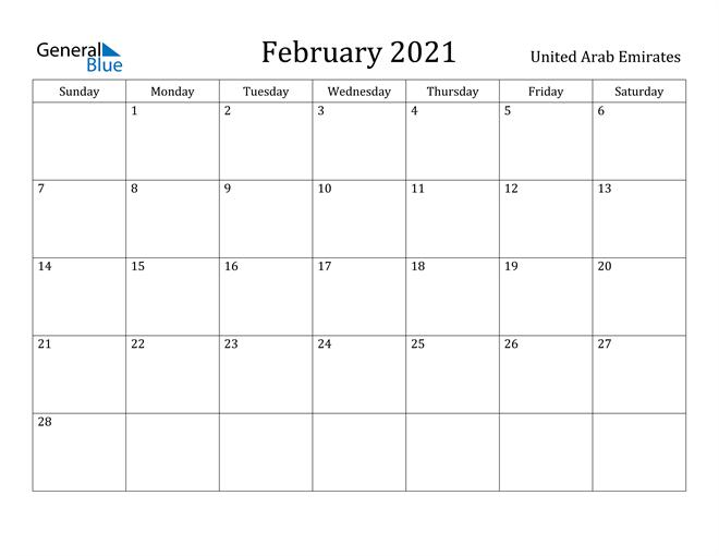 Image of February 2021 United Arab Emirates Calendar with Holidays Calendar
