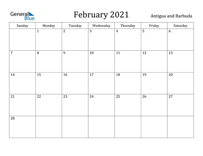 Image of February 2021 Antigua and Barbuda Calendar with Holidays Calendar