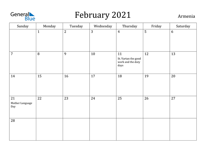 Image of February 2021 Armenia Calendar with Holidays Calendar