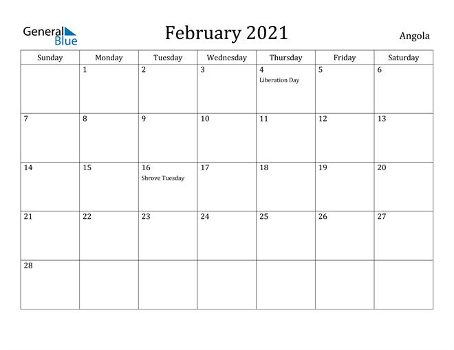 Image of February 2021 Angola Calendar with Holidays Calendar