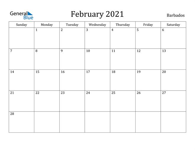 Image of February 2021 Barbados Calendar with Holidays Calendar