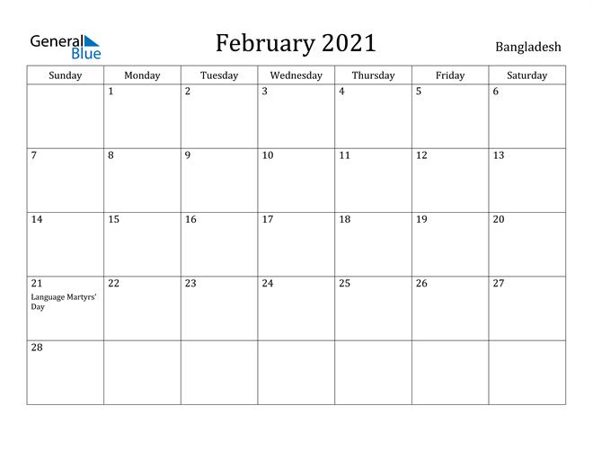 February 2021 Calendar Bangladesh