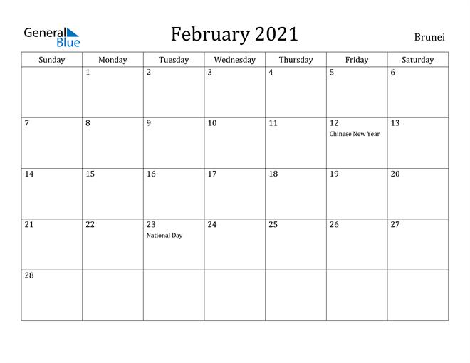 Image of February 2021 Brunei Calendar with Holidays Calendar