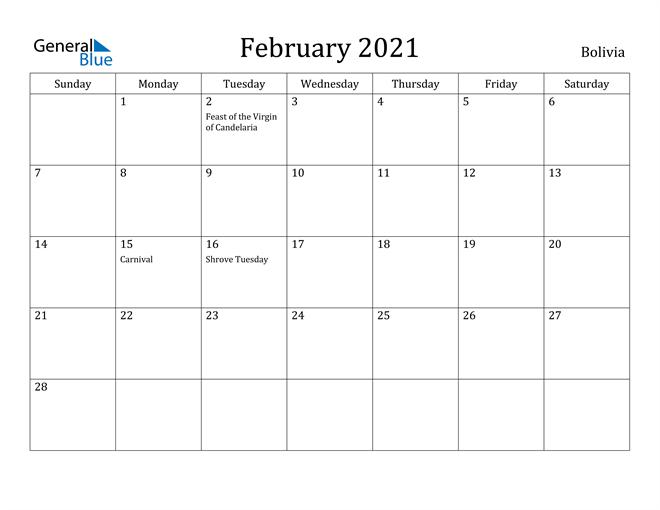 Image of February 2021 Bolivia Calendar with Holidays Calendar