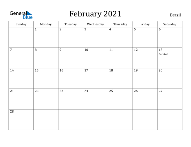 Image of February 2021 Brazil Calendar with Holidays Calendar