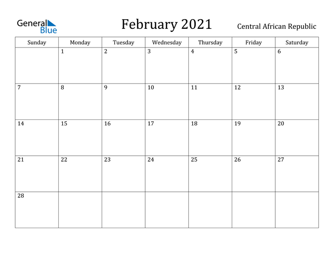 Image of February 2021 Central African Republic Calendar with Holidays Calendar