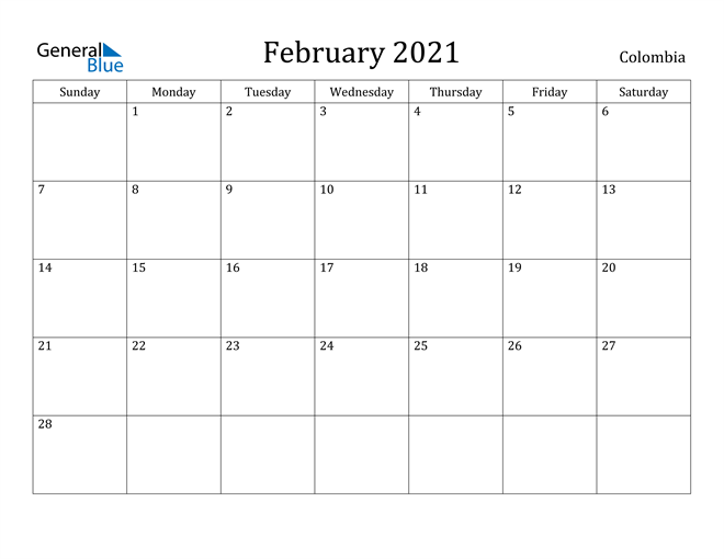 Image of February 2021 Colombia Calendar with Holidays Calendar
