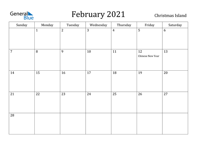 Image of February 2021 Christmas Island Calendar with Holidays Calendar