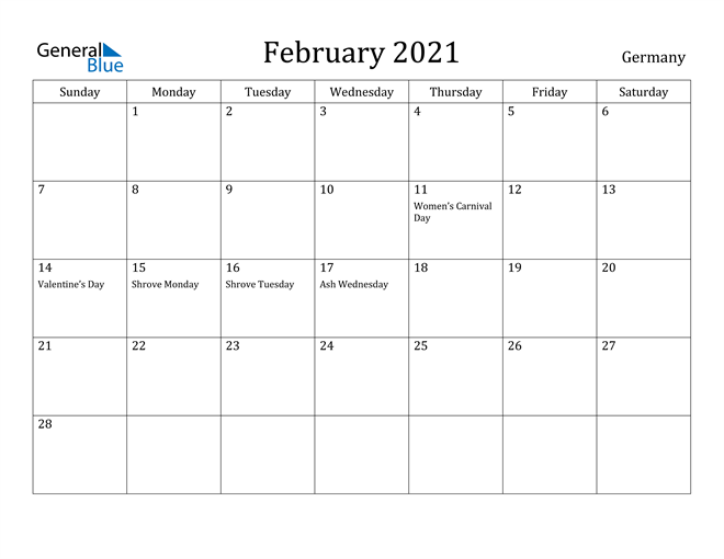 Image of February 2021 Germany Calendar with Holidays Calendar