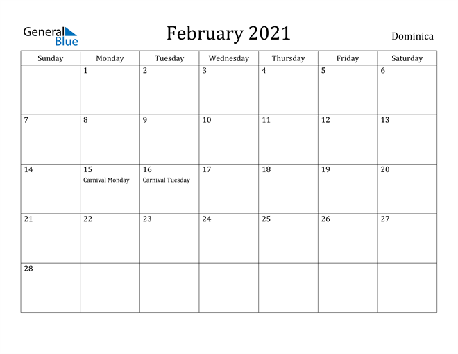 Image of February 2021 Dominica Calendar with Holidays Calendar