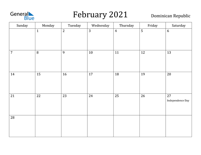 Image of February 2021 Dominican Republic Calendar with Holidays Calendar