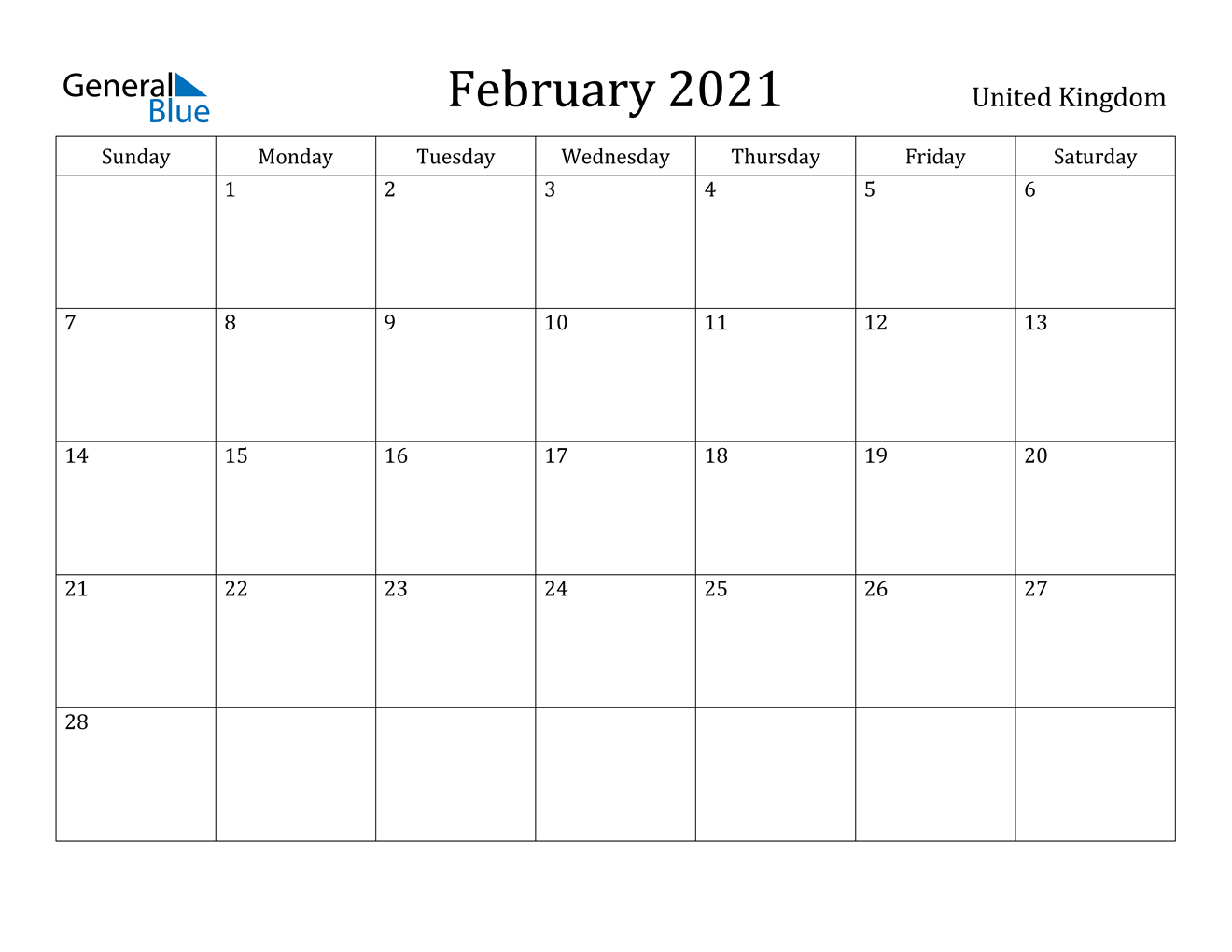 February 2021 Calendar United Kingdom