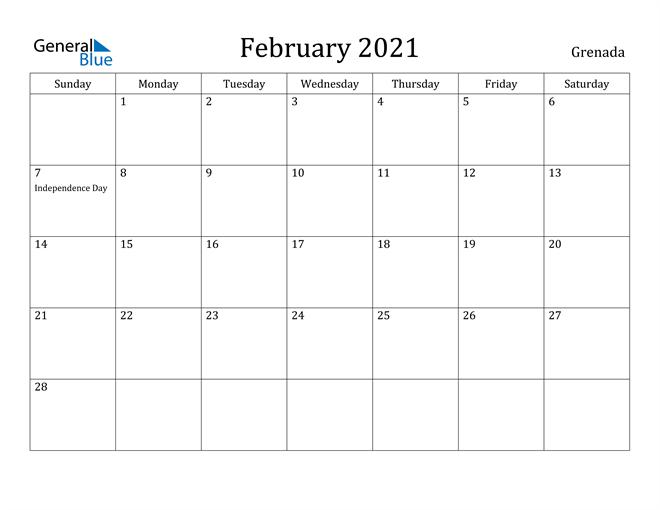Image of February 2021 Grenada Calendar with Holidays Calendar