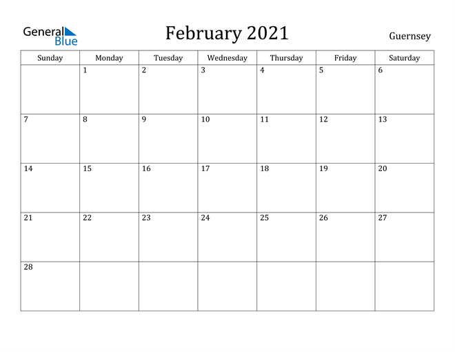Image of February 2021 Guernsey Calendar with Holidays Calendar