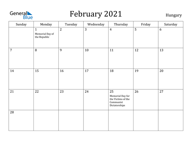 Image of February 2021 Hungary Calendar with Holidays Calendar
