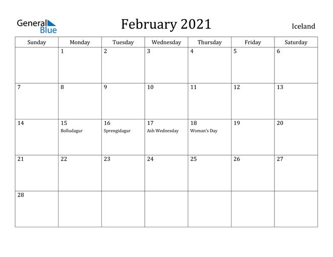 Image of February 2021 Iceland Calendar with Holidays Calendar