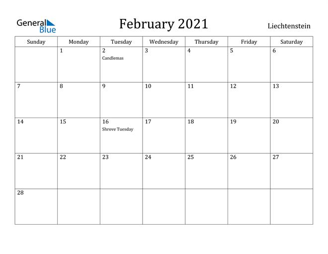Image of February 2021 Liechtenstein Calendar with Holidays Calendar