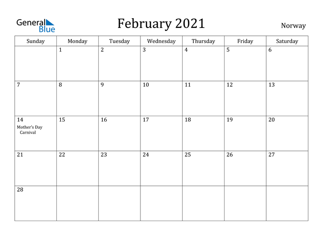 Image of February 2021 Norway Calendar with Holidays Calendar