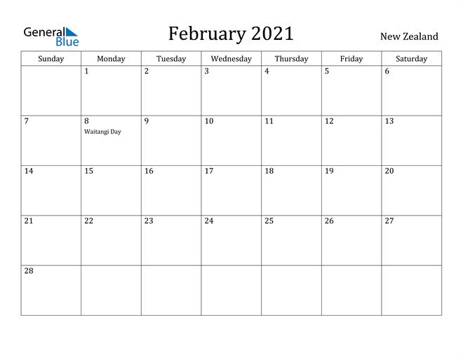Image of February 2021 New Zealand Calendar with Holidays Calendar