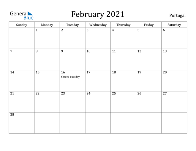 Image of February 2021 Portugal Calendar with Holidays Calendar