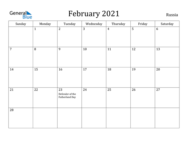 Image of February 2021 Russia Calendar with Holidays Calendar