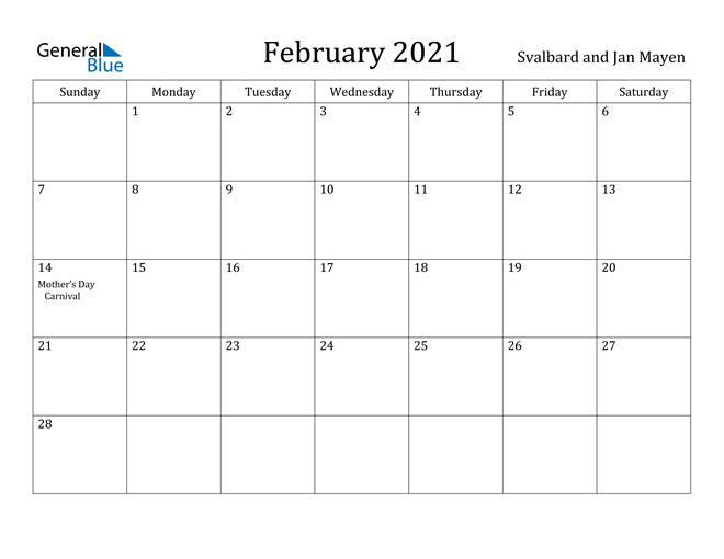 Image of February 2021 Svalbard and Jan Mayen Calendar with Holidays Calendar