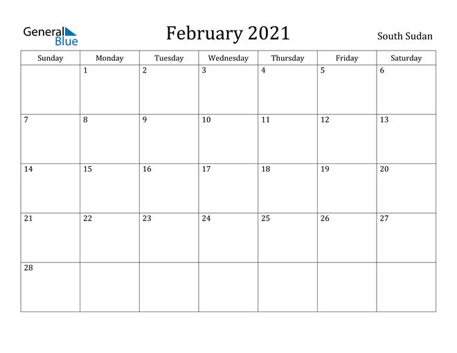 Image of February 2021 South Sudan Calendar with Holidays Calendar