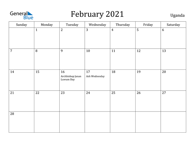 Image of February 2021 Uganda Calendar with Holidays Calendar