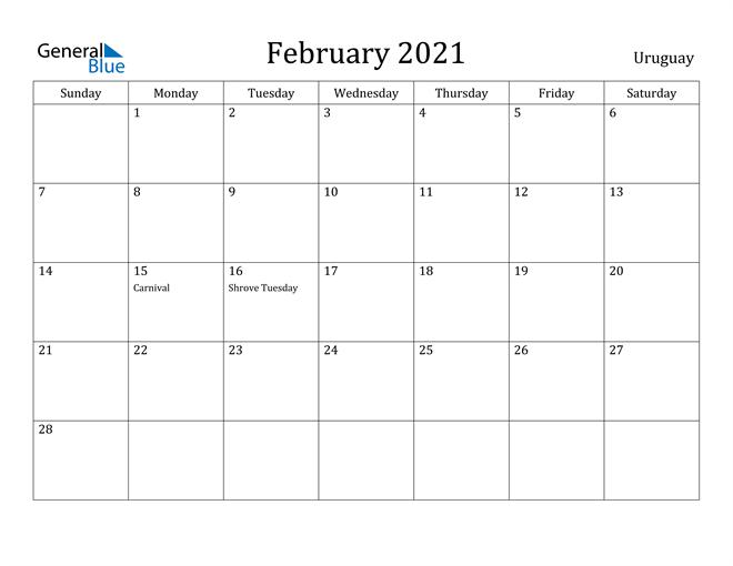 Image of February 2021 Uruguay Calendar with Holidays Calendar