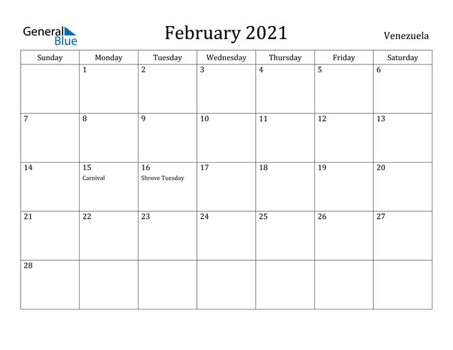 Image of February 2021 Venezuela Calendar with Holidays Calendar