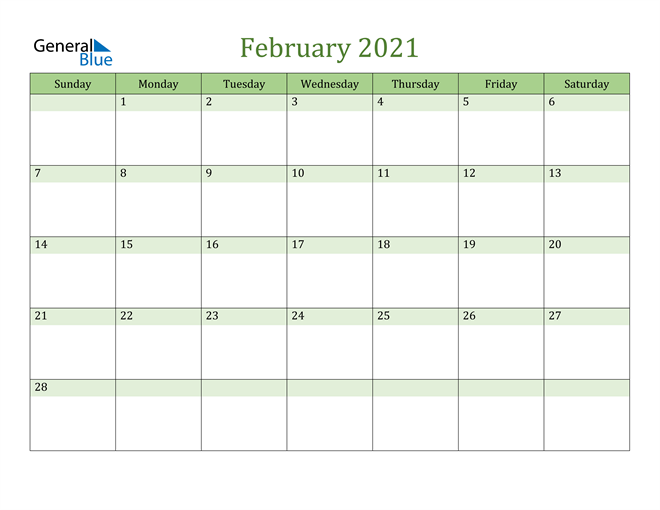 February 2021 Cool and Relaxing Green Calendar