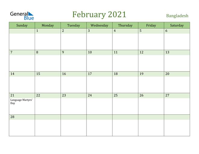 February 2021 Calendar with Bangladesh Holidays