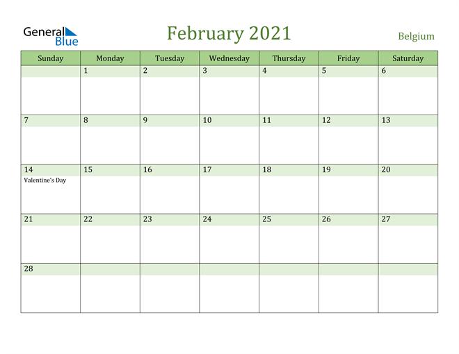 Image of February 2021 Cool and Relaxing Green Calendar Calendar
