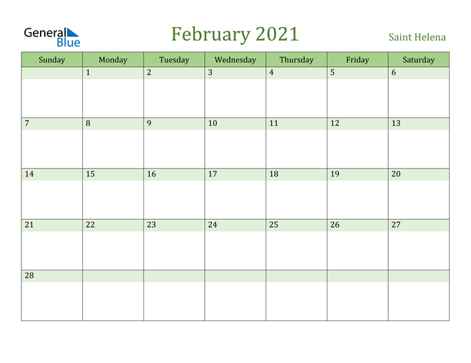 Image of February 2021 Cool and Relaxing Green Calendar Calendar
