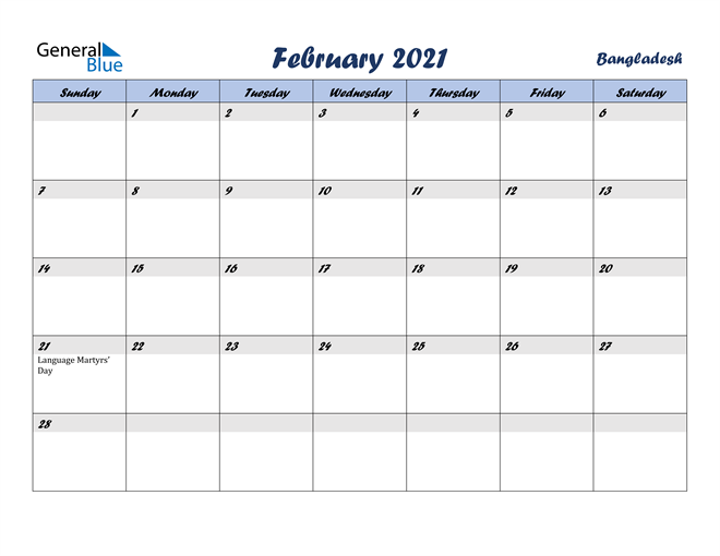 February 2021 Calendar with Holidays