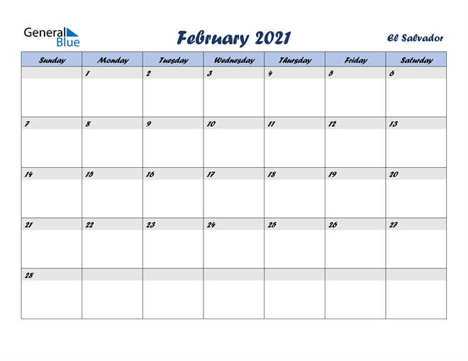 Image of February 2021 Italicized and Cool Blue, A Fun Calendar in PDF, Word and Excel Calendar